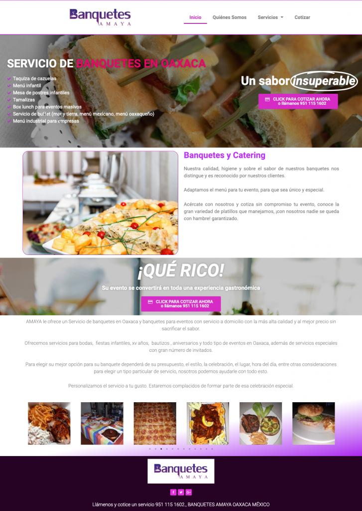 página web servicio de banquetes