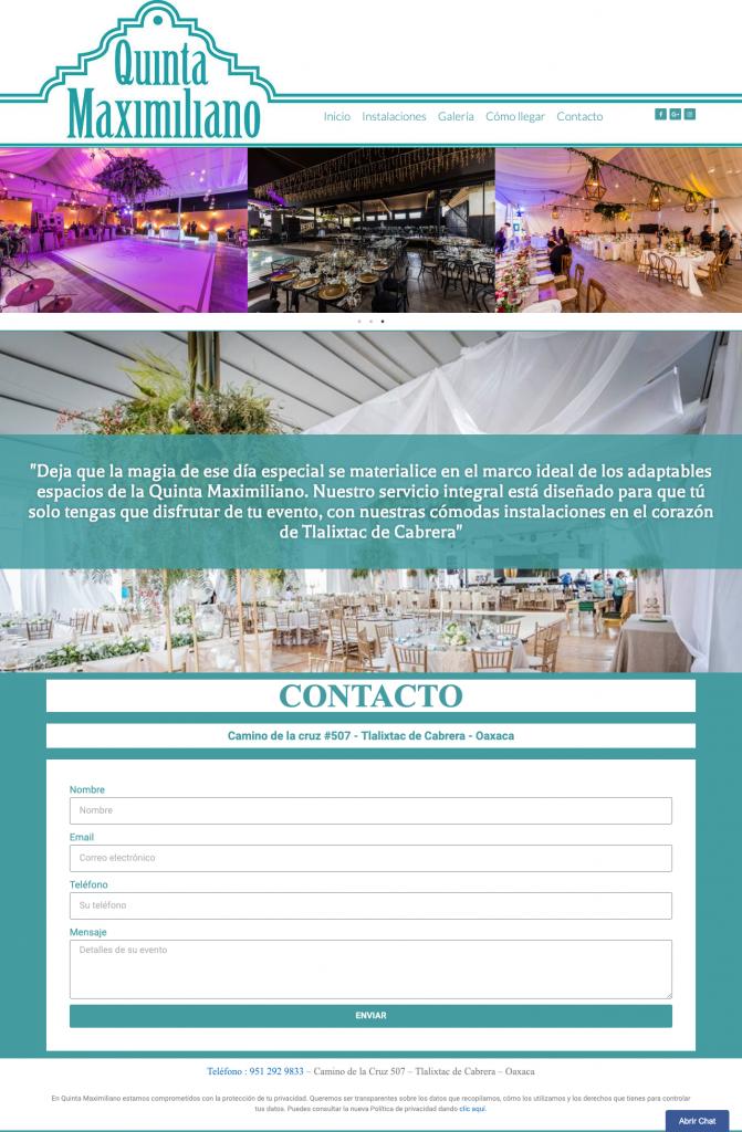 página web salón de eventos